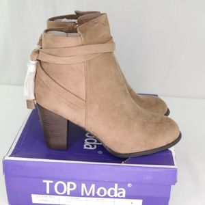 Top Moda Isabel-1 Wedge Ankle Booties Sz 10 Taupe